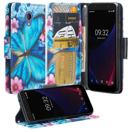 For Tracfone Alcatel TCL LX (A502DL),Alcatel 1X Evolve,IdealXTRA (5059R) Case [Kickstand] Pu Leather Wallet Case ID & Credit Card Slot for Alcatel TCL LX / 1X Evolve - Blue Butterfly