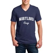 J_H_I MD Guy Maryland Map Baltimore Flag Terrapins Terps Home University of Maryland Men V-Neck Shirts Ringspun