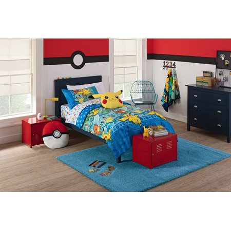 pokemon first starters 4 piece twin bed in a bag bedding set comes with comforter pillowcase. Black Bedroom Furniture Sets. Home Design Ideas