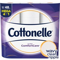 Cottonelle Ultra ComfortCare Toilet Paper, 12 Mega Rolls (=48 Regular Rolls)