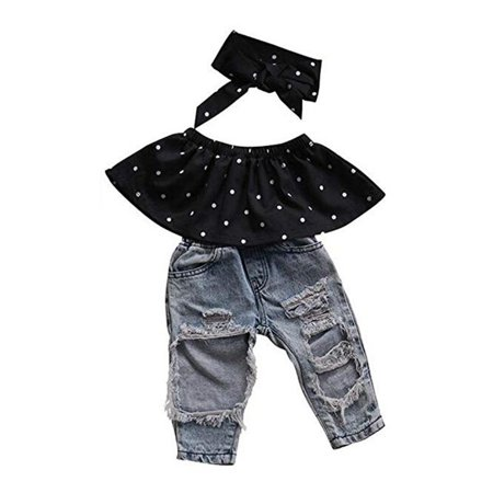 Baby Little Girls Summer Clothes Off Shoulder Polka Dot Top Destroyed Ripped Jeans Outfit Set - Little Girls Clothing Store