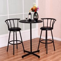 Costway 3 Piece Bar Table Set with 2 Stools Bistro Pub Kitchen Dining Furniture Black