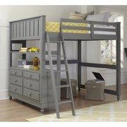 NE Kids Lake House Full Loft Bed with Hanging Shelf in Stone