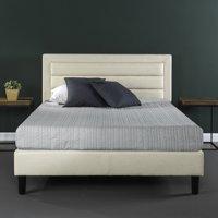 Zinus Karthik Upholstered Horizontal Detailed Platform Bed, Multiple Sizes