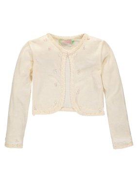 Sophie and Sam Girls 7-16 Pearl Scallop Shrug Cardigan Sweater (Cream 14)