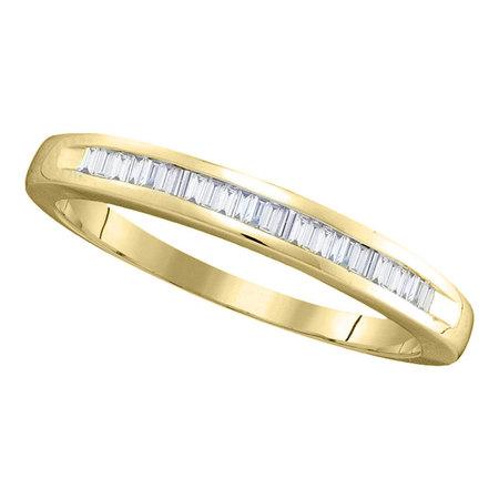 14kt Yellow Gold Womens Baguette Diamond Wedding Band Ring 1/4 Cttw