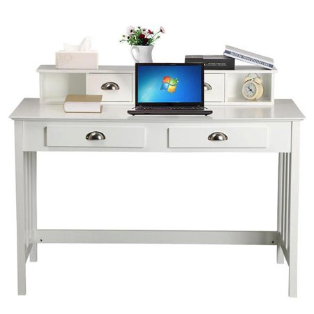 Office study desk Kitchen Ikea Counter Wood Writing Desk Computer Pc Table Home Office Study W4 Drawers White Walmartcom Ebay Wood Writing Desk Computer Pc Table Home Office Study W4 Drawers