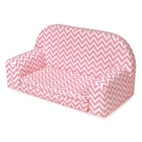 "Badger Basket Upholstered Doll Sofa with Foldout Bed - Pink Chevron - Fits American Girl, My Life As & Most 18"" Dolls"