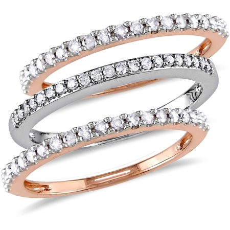 1/2 Carat T.W. Diamond 10kt Two-Tone Gold Three-Piece Anniversary Stackable Semi-Eternity Ring