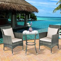 Goplus Rattan Wicker 3-Piece Outdoor Bistro Set