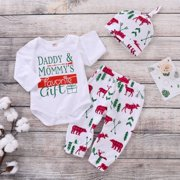 ce0abeb7be1 Newborn Baby Boys Girls Christmas Outfit Long Sleeve Romper Bodysuit Shirts+ Deer Pants Hats 3Pcs
