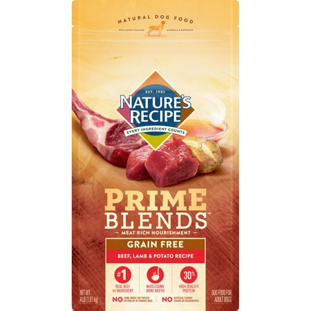 Nature's Recipe Prime Blends Beef, Lamb, and Potato Recipe, Grain Free, Dry Dog Food, 4-Pound