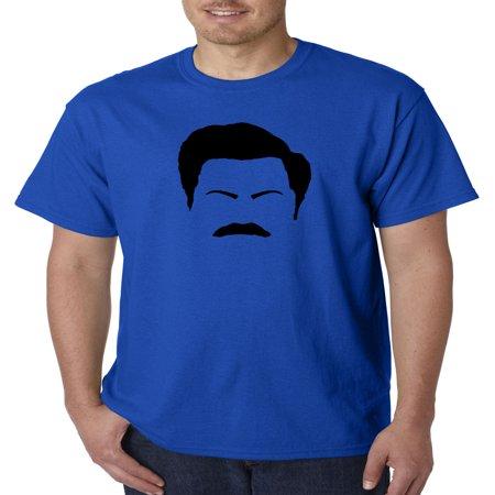 Lake Mt Blue State Park - Trendy USA 874 - Unisex T-Shirt Ron Swanson Silhouette Facial Face Parks Recreation XL Royal Blue