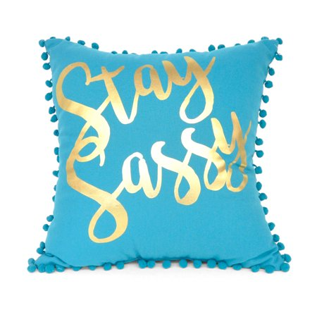 Mainstays Stay Sassy Gold Foil Decorative Pillow, Blue - Decorative Tins
