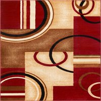 """Well Woven Barclay Arcs & Shapes Modern Abstract Geometric Red 7'10"""" x 9'10"""" Area Rug"""