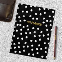 "2019 Black and White Dots 7.5"" x 10.25"" January 2019-December Monthly Slim Planner"