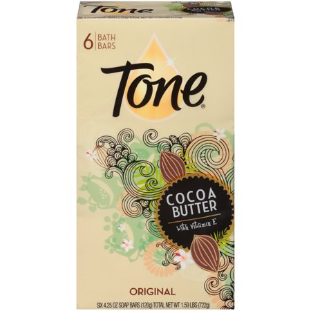 (2 pack) Tone Bath Bar Soap, Cocoa Butter, 4.25 Ounce Bars, 6 Count
