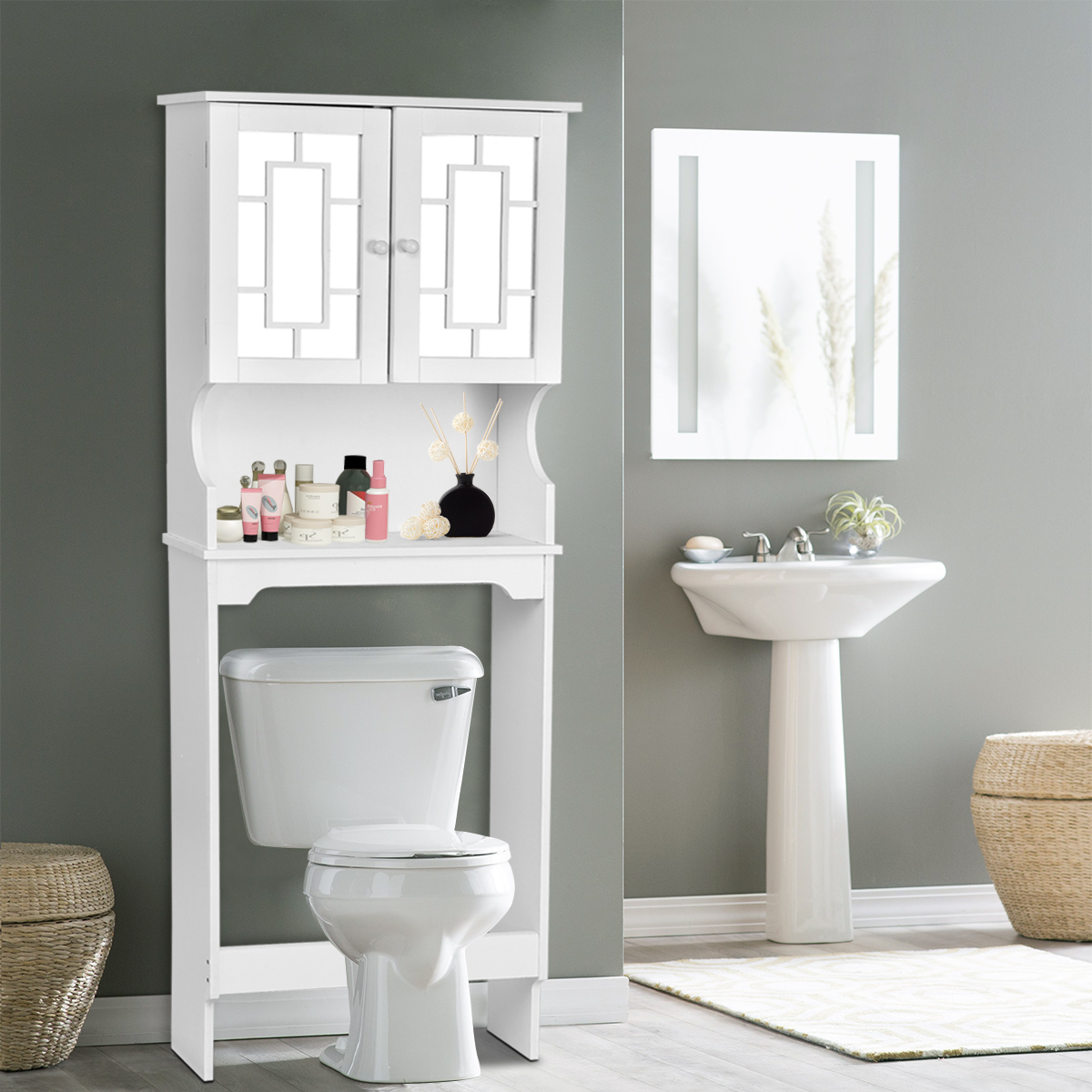 Gymax White Bathroom Over The Toilet Space Saver Storage Cabinet Organizer  Shelf
