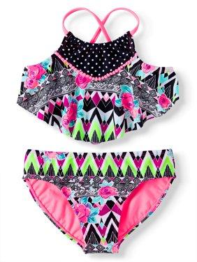 Southwestern Rose Pom-Pom Trim Bikini Swimsuit (Little Girls & Big Girls)