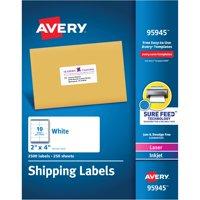 "Avery White Shipping Labels, Laser/Inkjet, 2"" x 4"", White, 2500 per Box"