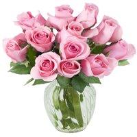 Kabloom Bouquet of 12 Fresh Pink Roses (Farm-Fresh, Long-Stem) with Vase
