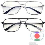 b0efee47c259 Multifocal Metal Frame Aviator No Line Progressive Reading Glasses Clear  Lens