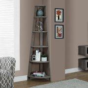 """Monarch 72"""" 5-Shelf Corner Bookcase Etagere, Multiple Colors"""