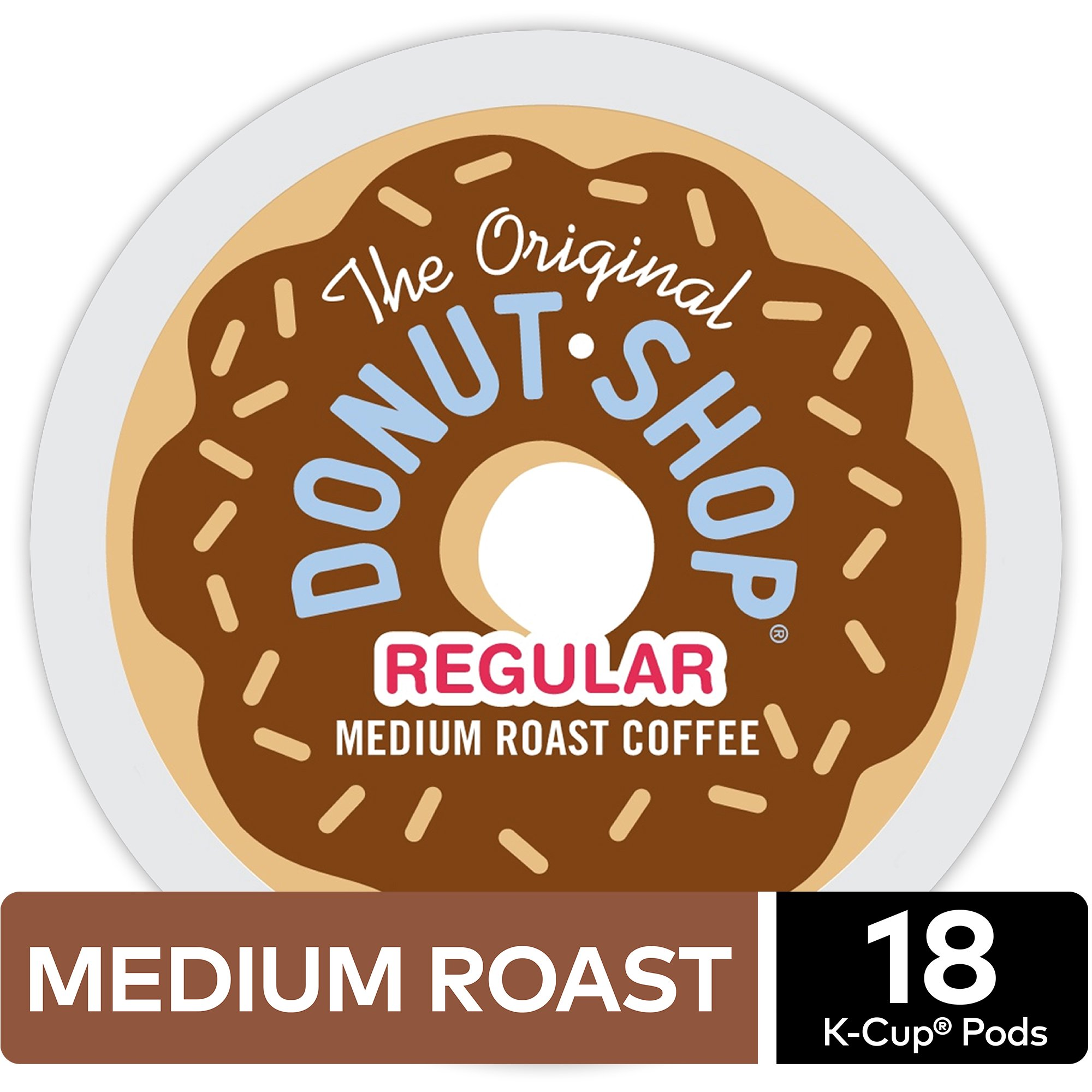 The Original Donut Shop Regular K-Cup Coffee Pods, Medium Roast, 18 Count for Keurig Brewers