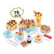 b470f8c630d11 Birthday Cake Play Food Set LIGHT BLUE 75Pcs Plastic Kitchen Cutting Toy  Pretend Play