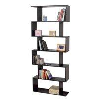 Walfront Mainstays Home 6-Tier Corner Bookshelf Solid Wood Bookshelves Bookcase Storage Shelves Storage Cube Closet Organizer Shelf Rack, Black