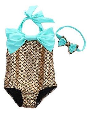 DYMADE Girl's One Piece Mermaid Bikini Set Swimwear Swimsuit Bathing Suit+Headband