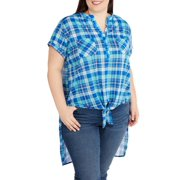 b3567a37000 French Laundry Women s Plus Plaid Hi-Low Henley With Chiffon Back