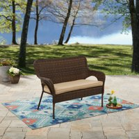 Better Homes and Gardens Camrose Farmhouse Wicker Outdoor Bench, Dark Brown