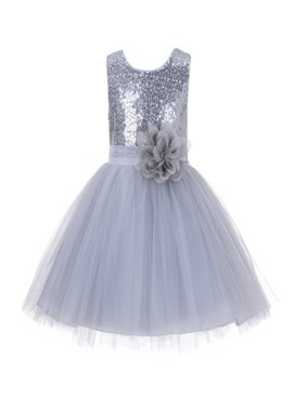 Ekidsbridal Formal Sparkling Sequins Tulle Flower Girl Dress Bridesmaid Wedding Pageant Toddler Easter Holiday Spring Summer Recital Communion Birthday Baptism Ceremony Special Occasions 124NF