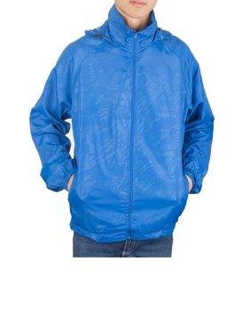 SAYFUT Men's Outdoor Lightweight Windbreaker  Packable Jacket Waterproof Rain Jacket Drawstring Hooded Zip-Up Sport Windbreaker Blue/Red/Black/Green