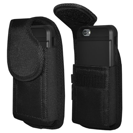 - iPhone 7 Vertical Rugged Heavy Duty Extended Holster Pouch Nylon Case with Belt Clip Fits Otterbox Commuter Defender UAG Ballistic Armor Dual Layer AMZER Crusta