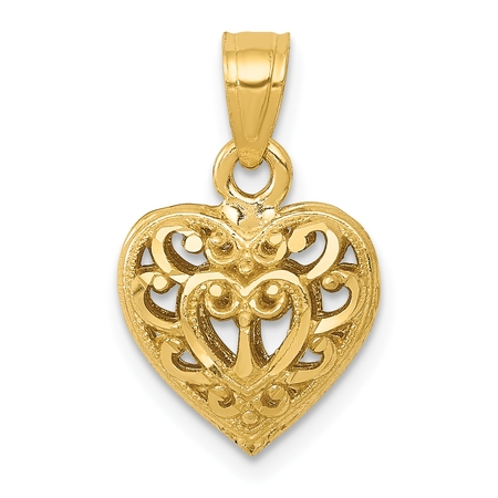 - 14k Yellow Gold 3d Filigree Heart Necklace Pendant Charm Love Fine Jewelry For Women Gift Set