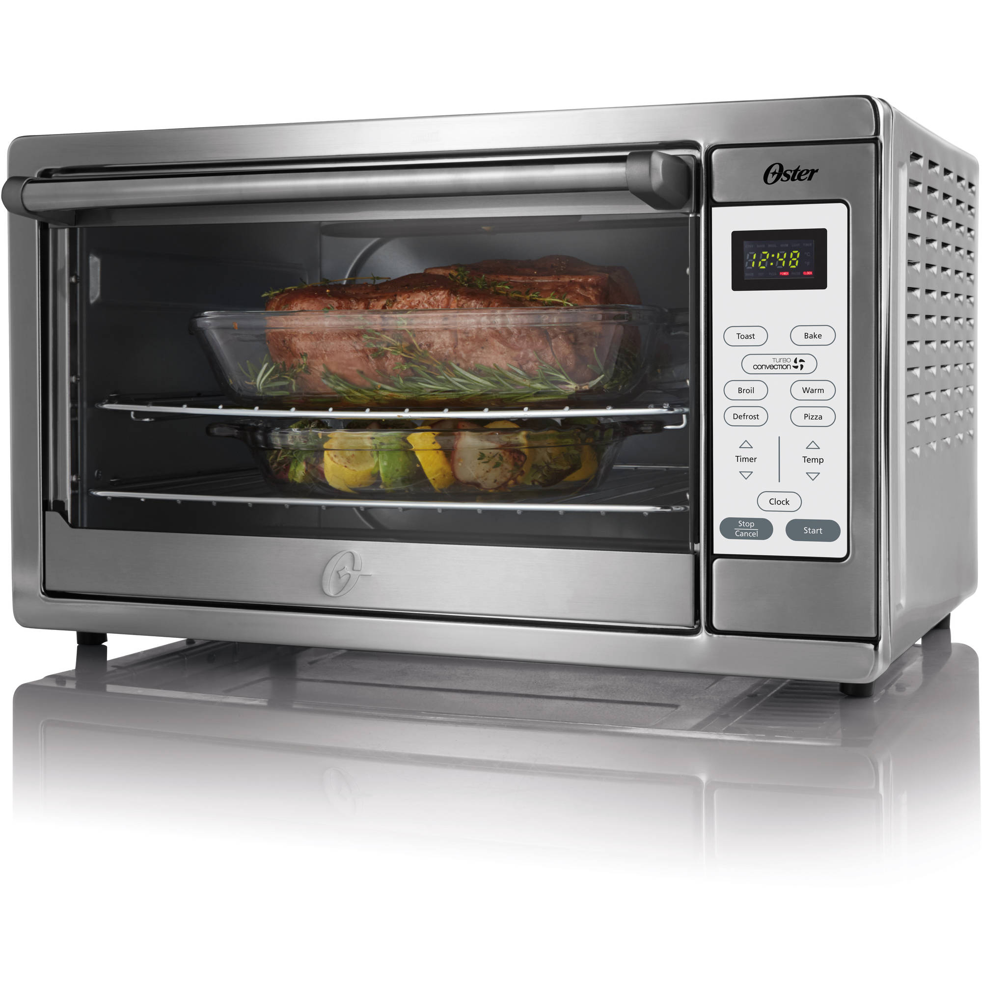 Indoor Grill Toaster Oven Combination W Lid 1200 Watts Stainless
