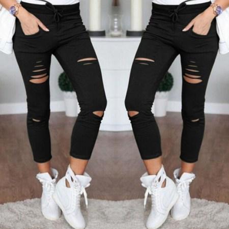High Waist Slim Skinny Women Leggings Stretchy Pants Jeggings Pencil Pants Black Size