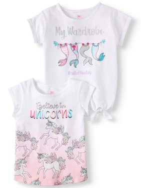 Graphic Tee & Side-Tie Top, 2-Pack (Little Girls & Big Girls)