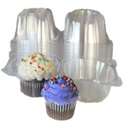 100pcs Plastic Cupcake Case Muffin Pods Dome Cups Cake Boxes
