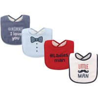 Luvable Friends Baby Boy and Girl Drooler Bib, 4-Pack - Little Man