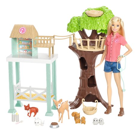 Barbie Pet Rescue Center Playset with Doll, 8 Animals & -