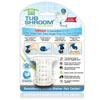 TubShroom Revolutionary Hair Catcher Drain Protector for Tub Drains (No More Clogs) White