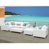 TK Classics Miami Wicker 8 Piece Corner Sofa Patio Conversation Set