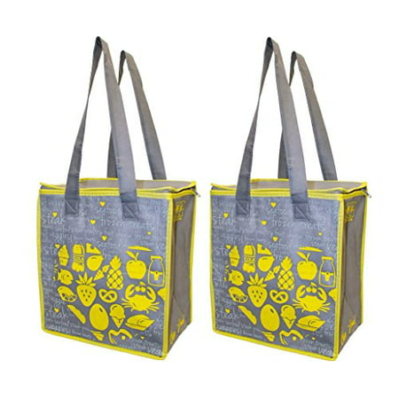 Earthwise Large Insulated Reusable Grocery Bag Ping Hot Cold Thermal Cooler W Zipper Closure Set Of 2