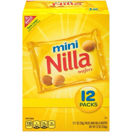 - (2 Pack) Nabisco Mini Nilla Wafers, 1 oz, 12 count