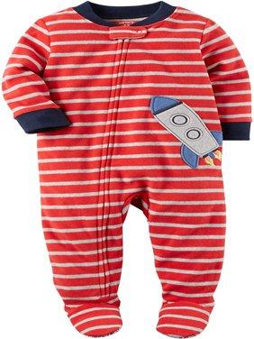 Carters Baby Boys Printed 1 Piece Fleece Footy Pajama (Red Stripe/Rocket, 5T)