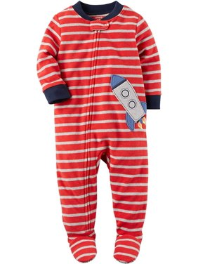 Carters Baby Boys Printed 1 Piece Fleece Footy Pajama (Red Stripe/Rocket, 5T)