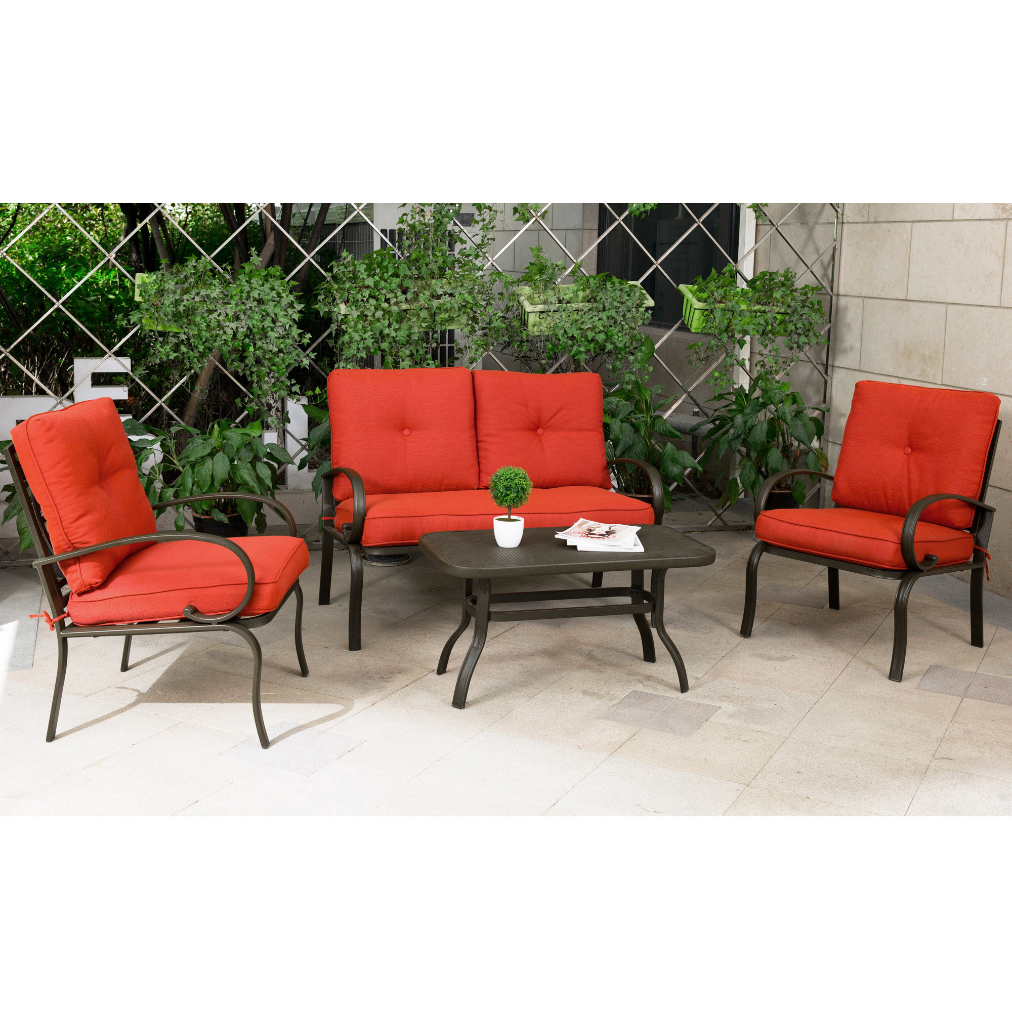 Wrought iron patio chairs Rot Iron Cloud Mountain Garden Patio Conversation Set Cushioned Outdoor Furniture Wrought Iron Coffee Table Chair Sofa Walmart Wrought Iron Patio Furniture